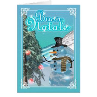 Buon Natale Italian Snowman Merry Christmas card