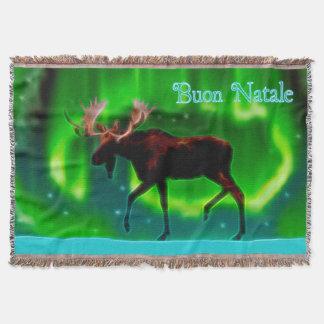 Buon Natale - Northern Lights Moose Throw