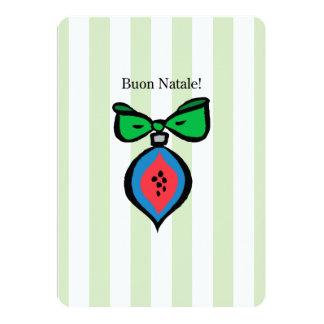 Buon Natale Red/Blue Ornament 5x7 Round Invitation