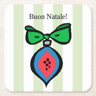 Buon Natale Red/Blue Ornament Square Coaster GR2