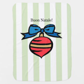 Buon Natale Red Ornament Baby Blanket Green