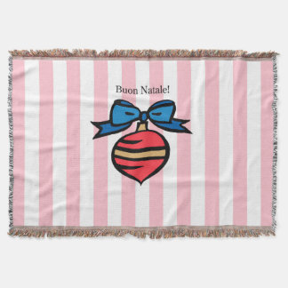 Buon Natale Red Ornament Throw Blanket Pink