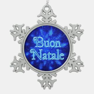 Buon Natale - Snowburst Pewter Snowflake Decoration