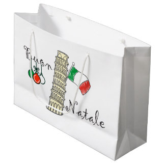 Buon Natale Tower of Pisa Large Gift Bag