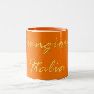 Buongiorno Italia. Golden gradient text. Two-Tone Coffee Mug