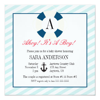 Buoy with Monogram, Nautical Baby Boy Shower Card