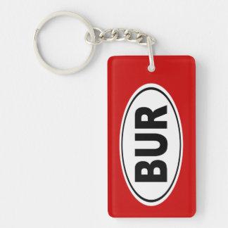 BUR Burlington Massachusetts Double-Sided Rectangular Acrylic Key Ring