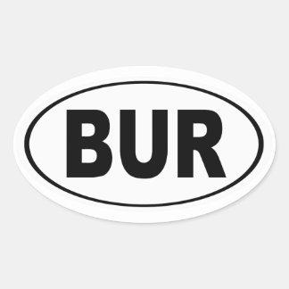 BUR Burlington Massachusetts Oval Sticker