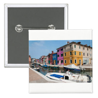 Burano colored houses 15 cm square badge