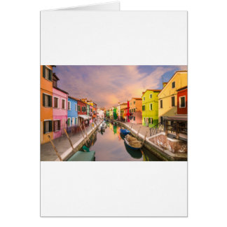 Burano, Italy at Sunset Card
