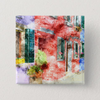 Burano Italy Buildings 15 Cm Square Badge