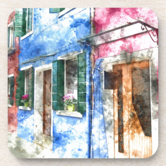 Burano Italy Buildings Coaster