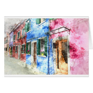 Burano Italy Buildings - Digital Art Watercolor Card