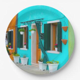 Burano Italy Buildings near Venice 9 Inch Paper Plate