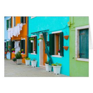 Burano Italy Buildings near Venice Card