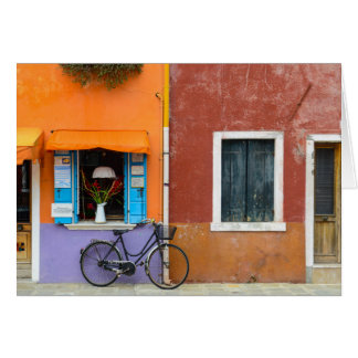 Burano Italy Buildings near Venice Italy Card