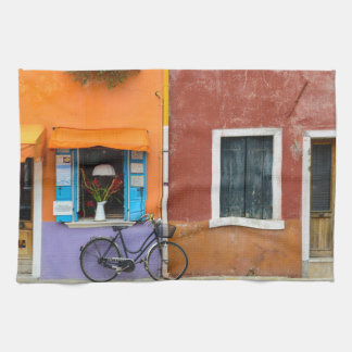 Burano Italy Buildings near Venice Italy Tea Towel