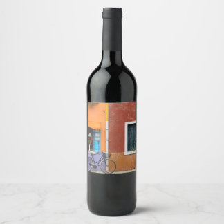 Burano Italy Buildings near Venice Italy Wine Label