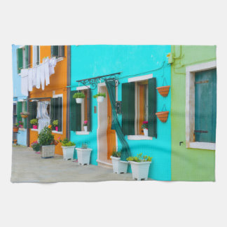 Burano Italy Buildings near Venice Tea Towel
