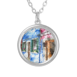 Burano Italy Buildings Silver Plated Necklace