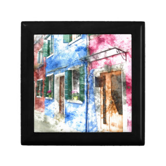 Burano Italy Buildings Small Square Gift Box