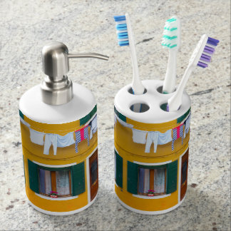 Burano Italy Buildings Soap Dispenser And Toothbrush Holder
