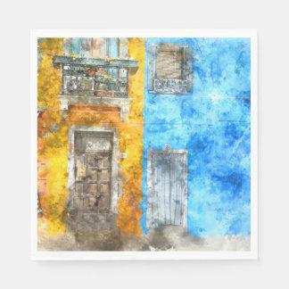 Burano Italy near Venice Italy Paper Napkins