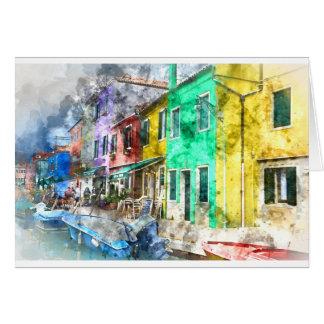 Burano Italy near Venice Italy with traditional co Card