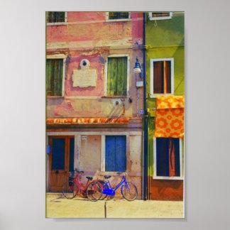 Burano Italy Street Scene Venice Poster Print