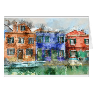 Burano  near Venice Italy  island canal with small Card