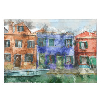 Burano  near Venice Italy  island canal with small Placemat