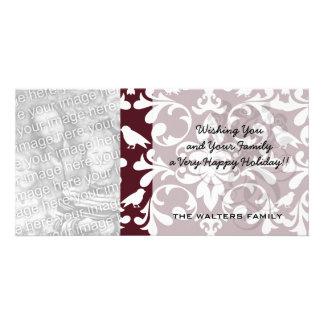burgandy and white bird damask ornate pattern custom photo card