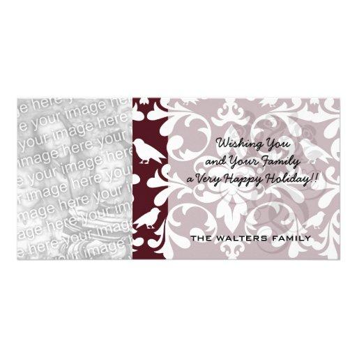 burgandy and white bird damask ornate pattern photo greeting card