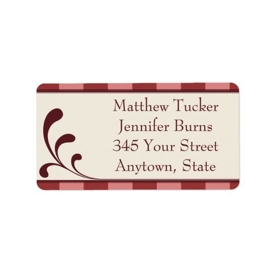 Burgandy & Pink Custom Envelope Address Labels
