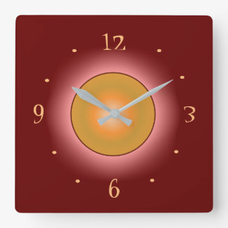 Burgandy with Bright Rose/Orange Circle > Clocks