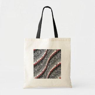 Burgello Quilt Pattern Customize Red Black Tote Bag