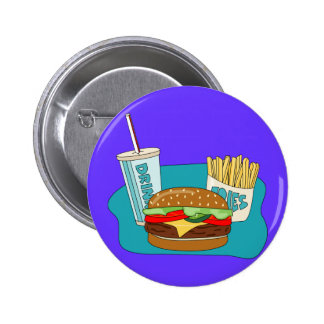 Burger and Fries 6 Cm Round Badge