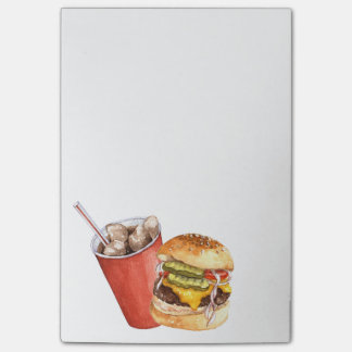 Burger and post-it notes