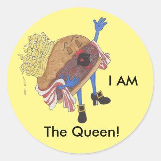 'Burger Bernice' Glossy Round Sticker