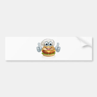 Burger Chef Food Cartoon Character Mascot Bumper Sticker