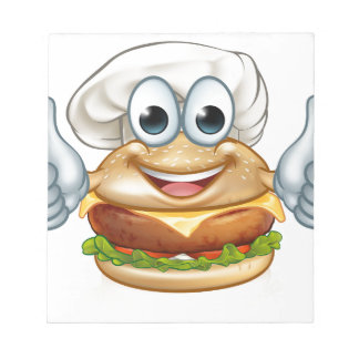 Burger Chef Food Cartoon Character Mascot Notepad