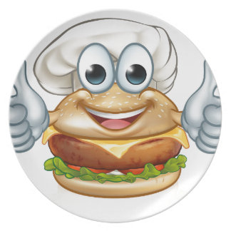 Burger Chef Food Cartoon Character Mascot Plate