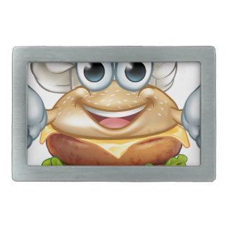 Burger Chef Food Cartoon Character Mascot Rectangular Belt Buckle
