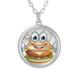 Burger Chef Food Cartoon Character Mascot Silver Plated Necklace