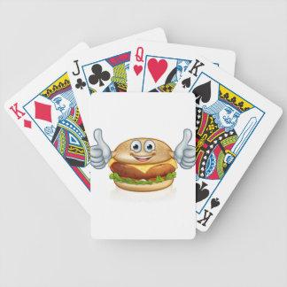 Burger Food Mascot Cartoon Character Bicycle Playing Cards