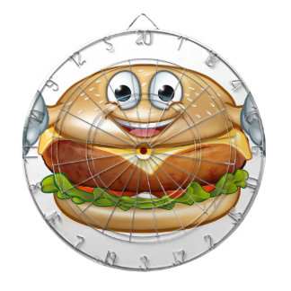 Burger Food Mascot Cartoon Character Dartboard
