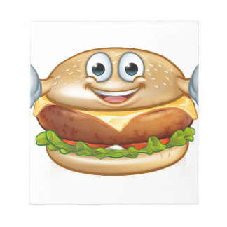 Burger Food Mascot Cartoon Character Notepad