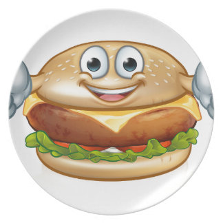 Burger Food Mascot Cartoon Character Plate