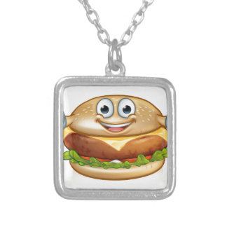 Burger Food Mascot Cartoon Character Silver Plated Necklace