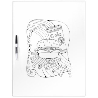 Burger Fries Adult Coloring Dry Erase Board